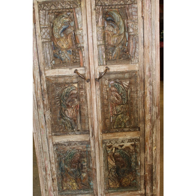 Vintage Indian Architectural Remnant Wooden Wardrobe Armoire For Sale - Image 4 of 5