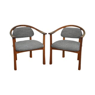Ellis Walentine Cherry Curved Back Arm Chairs - A Pair For Sale
