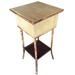 Restored Antique Tiger Bamboo Pedestal With Storage Box For Sale