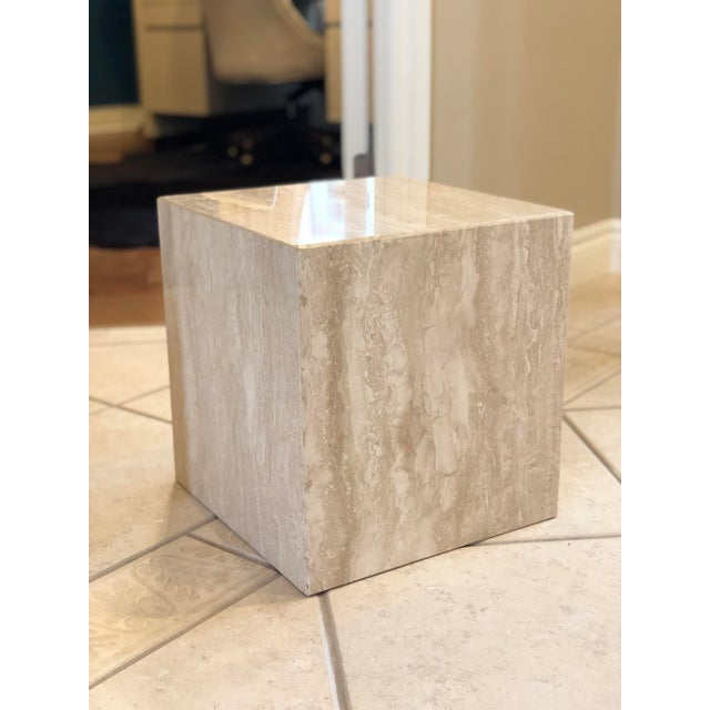 1970s Vintage Minimalist Italian Travertine Side Tables – A Pair For Sale - Image 4 of 7
