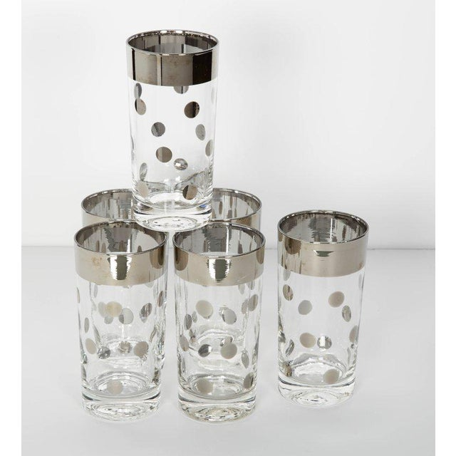 Set/10 Mid Century Barware Glasses With Polka Dot Design by Dorothy Thorpe For Sale In New York - Image 6 of 6