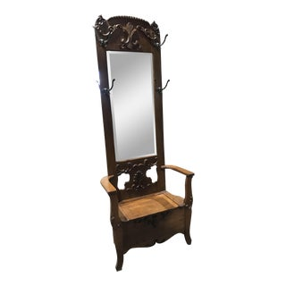 Vintage Hall Tree With Mirror & Seat