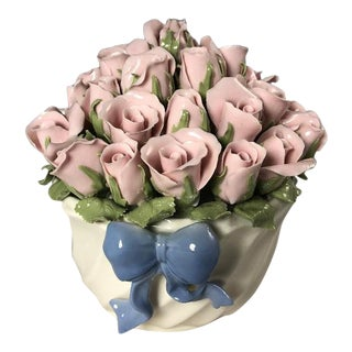 San Francisco Music Co. Pink Roses in Vase With Blue Ribbon For Sale