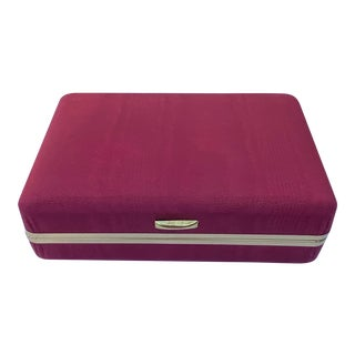 1960s Dark Red Moire Fabric and Brass Hinged Jewelry Box With Mirror For Sale