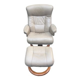 Hjellegjerde Norwegian Leather Recliner & Ottoman For Sale