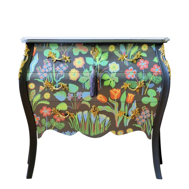 Floral Painted Rococo Bureau - Josef Frank (DaVinci Collection) For Sale