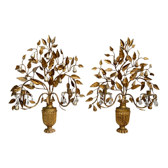 Hollywood Regency Giltwood Wall Sconces - a Pair For Sale