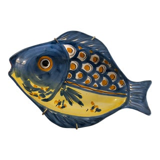 1990s Italian Vietri Fish Hanging Plate For Sale