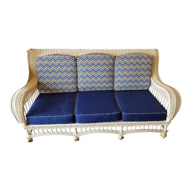 Modern Ethan Allen Wicker Blue Sofa
