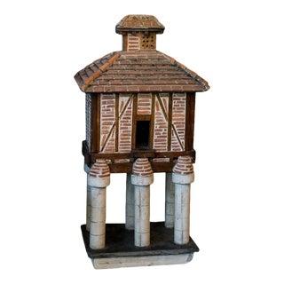 French Folk Art Terracotta Birdhouse on Pillars For Sale