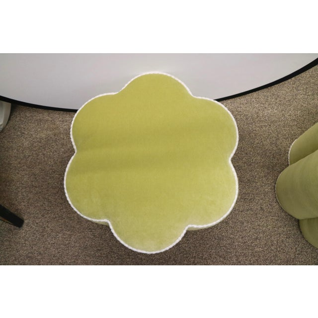 Chartreuse Custom Ottoman's, a Pair - Image 6 of 9