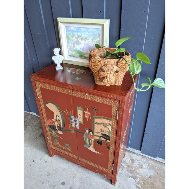 Black 1960s Hand-Painted Chinoiserie Cabinet / Night Stand For Sale - Image 8 of 13