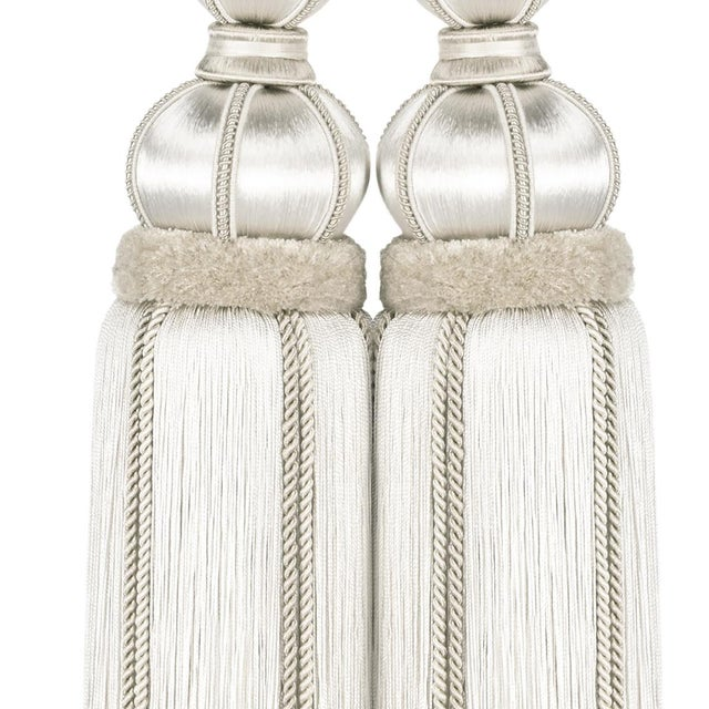 """Art Deco Ivory Double Tassel Tieback With Cut Ruche - Tassel Height 17"""" For Sale - Image 3 of 8"""