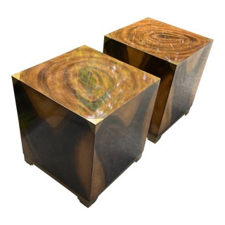 Kathy Kuo Home Polished Wood Cube Tables - a Pair For Sale
