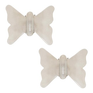 Vintage Frosted Glass Butterfly Form Sconces - a Pair For Sale