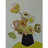 "Image of Bill Tansey 'Green Bouquet"" Abstract Floral Oil on Canvas For Sale"