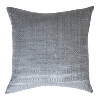 "Guatemalan Dark Gray Silk Pillow 22""x22"""" For Sale"