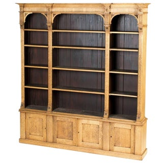 1880s English Open Face Oak Bookcase For Sale