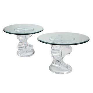 1970s Mid-Century Modern Lucite Helix Spiral Stacked Twist Side Tables - a Pair For Sale