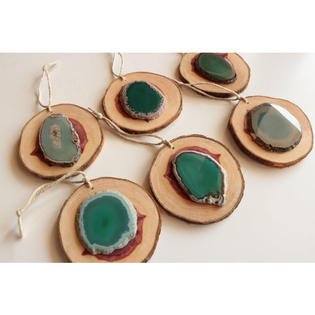 Agate and Cedar Slice Christmas Ornaments - Set of 6 - Image 3 of 8