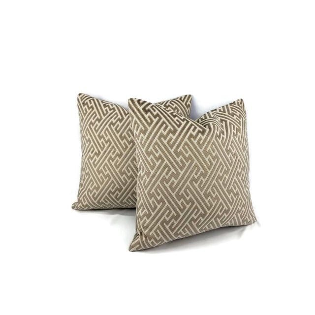 "Mid-Century Modern Holly Hunt in Labyrinth Field Stone - Gray and White Geometric Fretwork Velvet Pillow Cover 20"" X 20"" For Sale - Image 3 of 6"