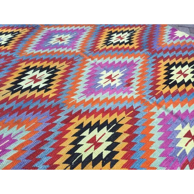 Colorful Turkish Kilim Rug For Sale In Raleigh - Image 6 of 8