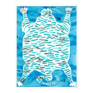 Tiger Rug Turquoise by Kate Roebuck in White Framed Paper, XS Art Print For Sale