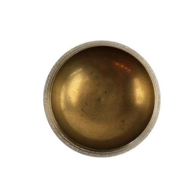Indian Vintage Indian Hand Tooled Etched Solid Brass Pedestal Bowl For Sale - Image 3 of 10