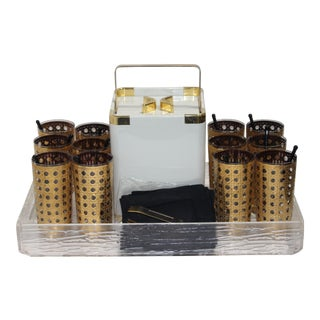 Barware Set 22k Culver Gold Plated 12 Tall Tumblers, 12 Swizzels, 12 Cocktail Napkins, Ice Bucket Turnwald Collection & Serving Tray - Set of 38 Items For Sale