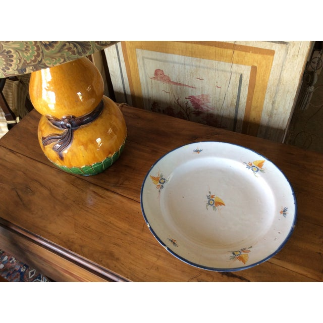 Ceramic Antique Blue & Yellow Provence Platter For Sale - Image 7 of 8