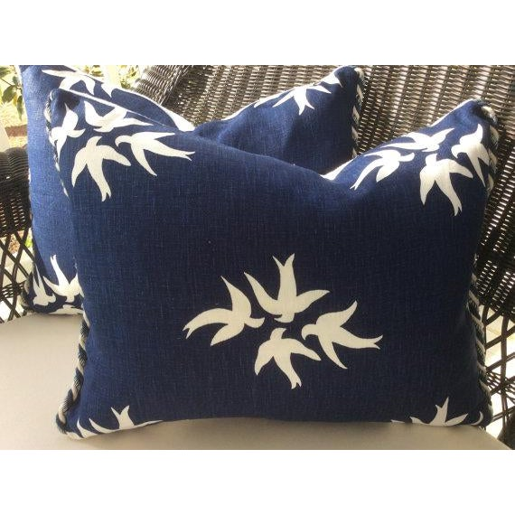 From iconic designer ,Victoria Hagan, comes this gorgeous linen in deepest indigo featuring graphic doves in bright white...