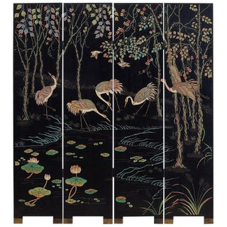 Chinese Four-Panel Coromandel Screen of Cranes For Sale