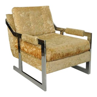 Mid-Century Modern Carsons Chrome Flat Bar Club Lounge Chair For Sale