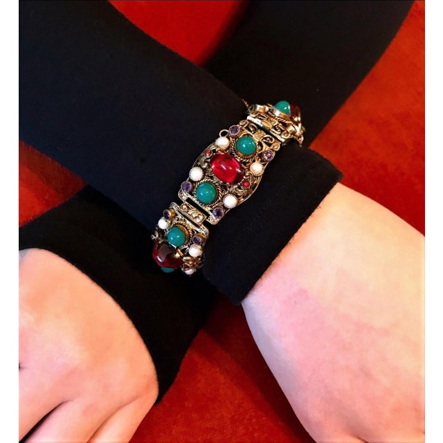 1940s 1940s Czech Austro-Hungarian Revival Jeweled Bracelet For Sale - Image 5 of 9