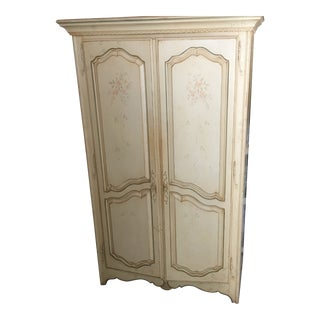 Antique French Country Hand Painted Armoire For Sale