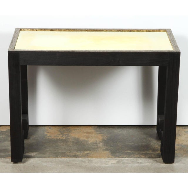 2010s Transitional Paul Marra Distressed Greek Key Side Tables - a Pair For Sale - Image 5 of 12