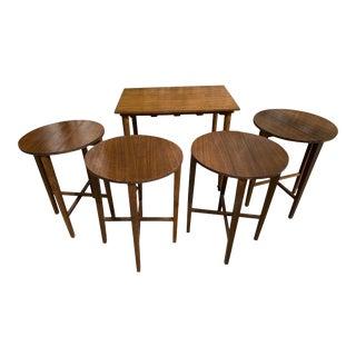 Mid Century 1950s Side End Table Bertha Schaefer for Singer & Sons Nesting Tables - Set of 5 For Sale
