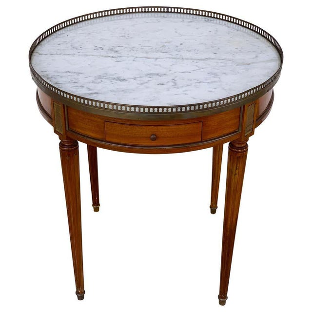 Louis XVI Style Carrera Marble-Top Bouillotte Table, Stamped Made in France For Sale - Image 10 of 10