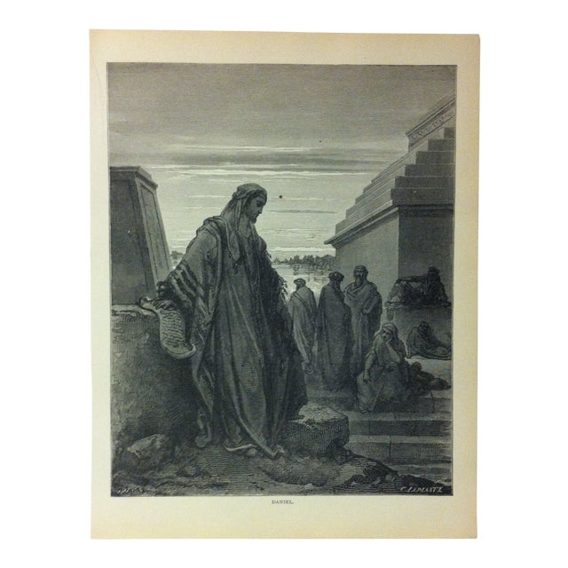 """Antique 1901 Gustave Dore Illustrated Print on Paper """"Daniel"""" For Sale"""