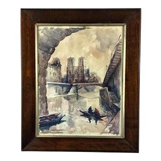 Notre Dame With Strange Backing Wood Framed Print For Sale