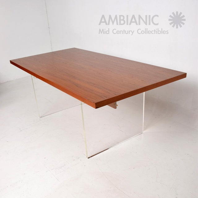 1980s Mid-Century Danish Modern Teak and Lucite Dining Table For Sale - Image 5 of 8