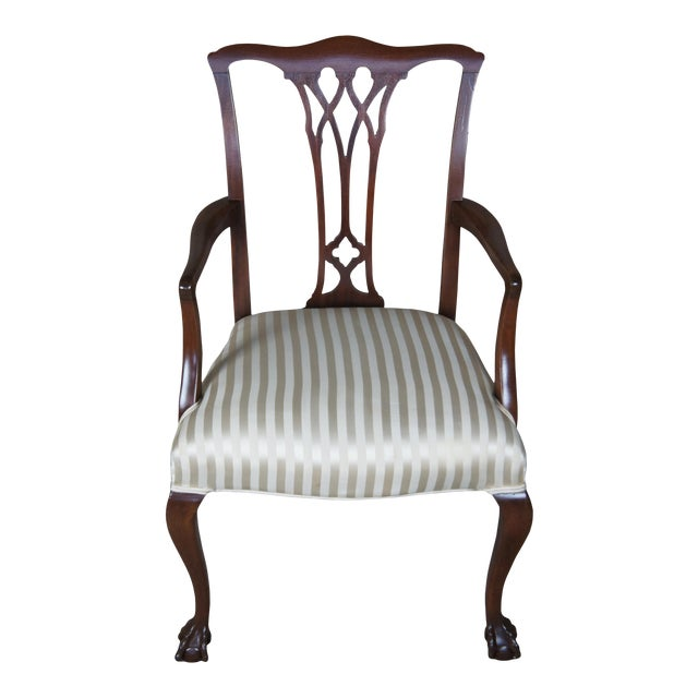 Chippendale Style Mahogany Dining Arm Chair, Ball & Claw Feet For Sale
