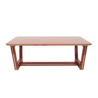 French Brass-Trimmed Makore Coffee Table, Manner of Maxime Old For Sale