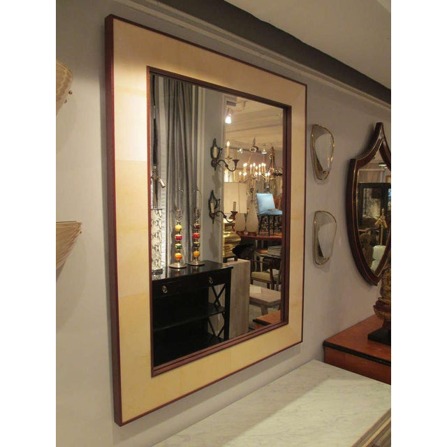 Mid-Century Modern Custom Rectangular Parchment Mirror For Sale - Image 3 of 6