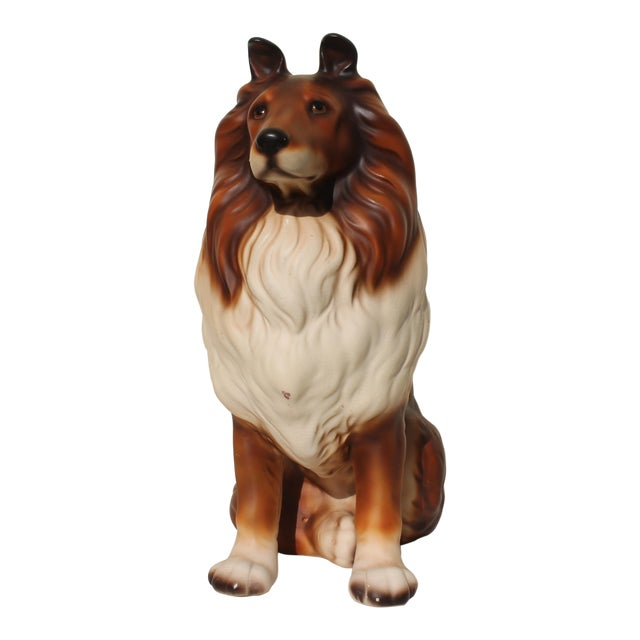 Mid-Century Glazed Ceramic Dog Sculpture For Sale