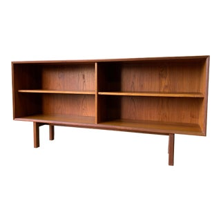 Low Mid Century Modern Danish Teak Hutch Bookcase Credenza For Sale