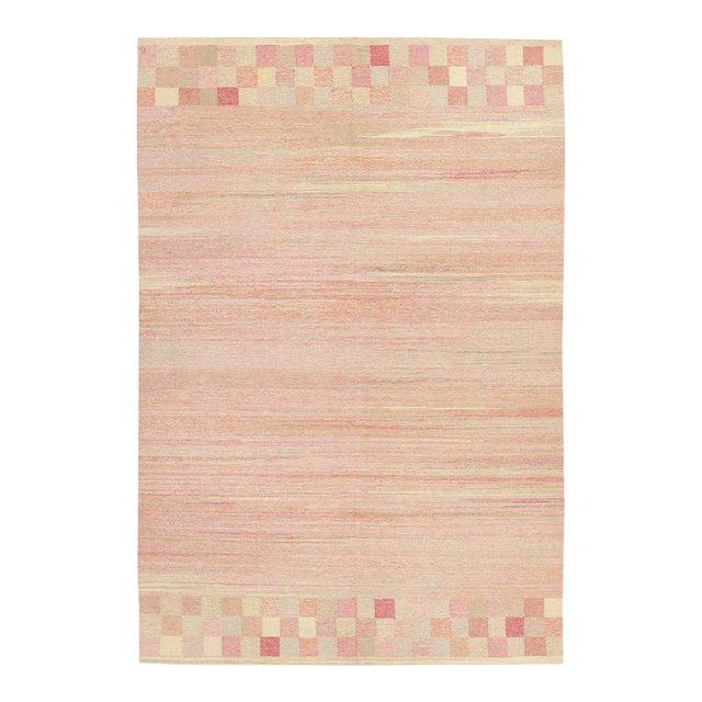 Vintage Scandinavian Art Deco Flat Carpet - 7′3″ × 10′8″ For Sale