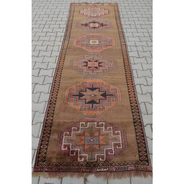 Hand Knotted Turkish Runner Rug - 3′7″ × 11′9″ - Image 4 of 9