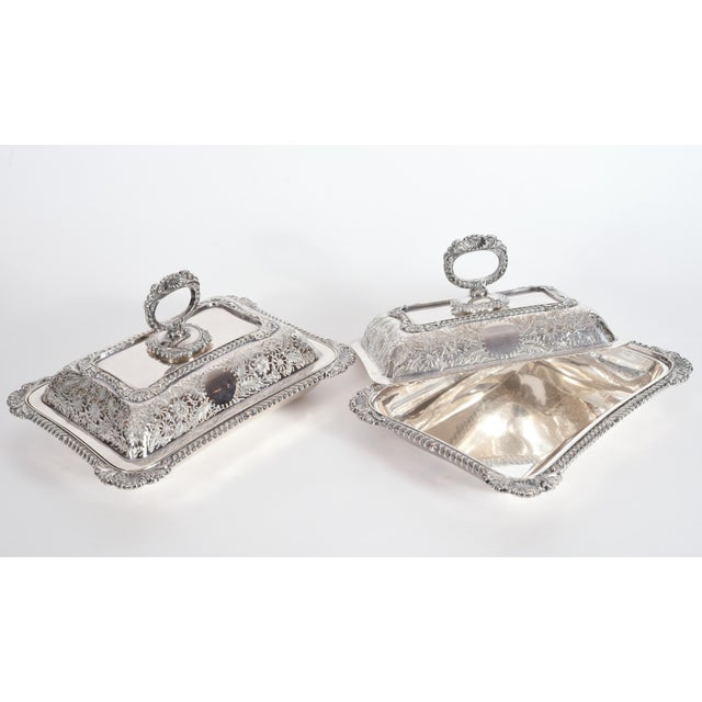 English Silver Plated Tableware Serving Dishes (2 Available) For Sale - Image 9 of 12