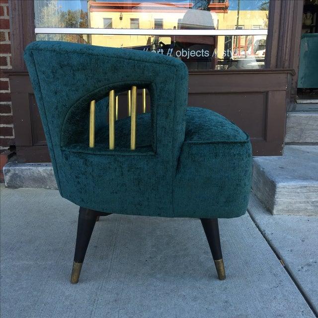 Mid-Century Green Velvet Brass Swivel Chair - Image 3 of 5